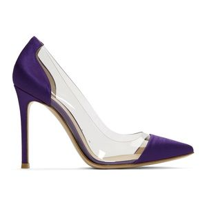 Gianvito Rossi purple satin and PVC heels. Size 36